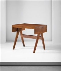 student' desk, model no. pj-bu-08-a, designed for the college of architecture and educational buildings, punjab university, chandigarh by pierre jeanneret