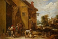 peasants outside an inn by david teniers the younger