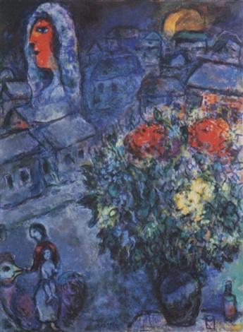 La mariée avec bouquet au village de Neuilly par Marc Chagall sur artnet