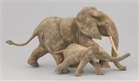 l'accès à la plage (éléphante et éléphanteau) (2 works) by françois van den berghe