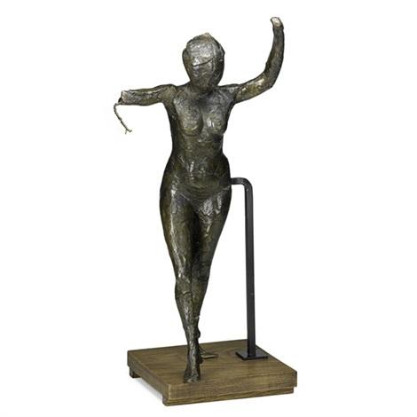 danseuse savançant les bras levés la jambe droite en avant by edgar degas