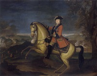 an equestrian portrait of william augustus, duke of cumberland in the frock uniform of the first guards with the ribbon and star of the garter by david morier