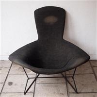 fauteuil + ottoman, modèle diamant (set of 2) by harry bertoia