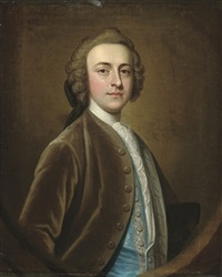 portrait of a gentleman, half-length, in a brown velvet coat and blue silk waistcoat with silver frogging by james fellowes
