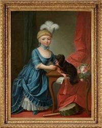 jeune fille et son chien by françois hubert drouais
