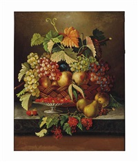 still life with fruit in a basket on a ledge by american school