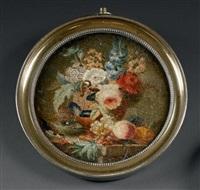 vase de fleurs sur un entablement de marbre, un oiseau près d'un nid, un ananas et des fruits posés au naturel by cornelis van spaendonck