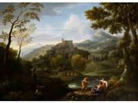 an italianate landscape with classical figures by jan frans van bloemen