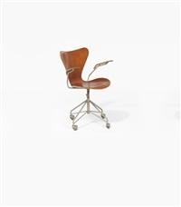 3217 - série 7 fauteuil pivotant à roulettes by arne jacobsen