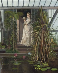 a lady admiring a lily pond by louis simon cabaillot lassalle