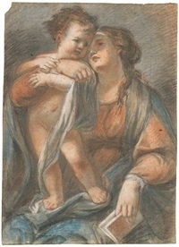 the madonna holding the infant christ standing on her lap by giovanni maria viani