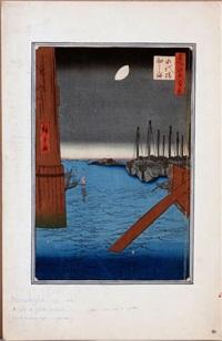 oban tate-e de la série edo meisho hyakkei, les cent vues d'edo, la vue de l'île tsukuda depuis le pont eitai au clair de lune by ando hiroshige