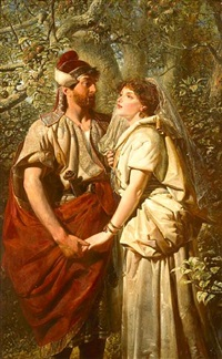 troilus & cressida in the garden of pandarus (act iii, scene 2)(+ in the orchard of pandarus; verso) by edward henry corbould