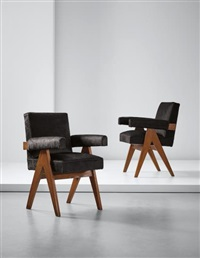 pair of 'committee' armchairs, model no. pj-si-30-a, designed for the high court, assembly and punjab university administrative buildings, chandigarh by pierre jeanneret