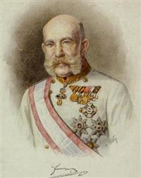 porträt kaiser franz joseph i. von österreich in feldmarschallsuniform mit ordensschmuck by karl a. götze