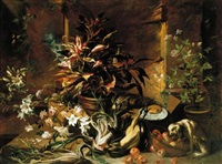 still life with potted plants and roses, a dog, a basket of apples, fennel, and a semi-plucked rooster, a bread roll on a plate and a wine glass by niccolino van houbraken