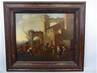 paysage romain avec des joueurs de boules by jan miel