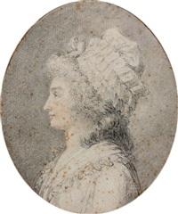 portrait de femme de profil by augustin de saint-aubin
