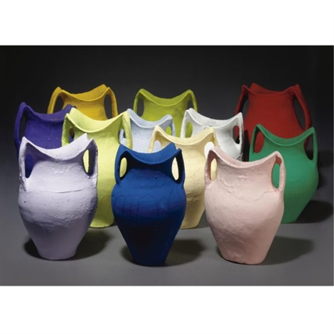 colored pots set of 12 various sizes by ai weiwei