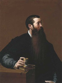 portrait of a philosopher, half-length, seated, in a black cloak and satin jacket and a white shirt, his hand resting on an hour glass sitting... by girolamo mazzola bedoli