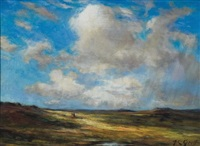 two figures on a walk on he plains by albert lorey groll