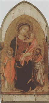 the madonna and child with saints john the baptist and nicholas of bari by master of borgo alla collina