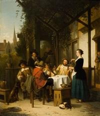 rassemblement familial sur la terrasse by adrien ferdinand de braekeleer