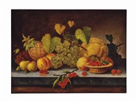 still life with fruits on a ledge by american school