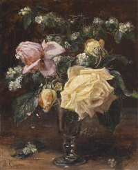 blumenstück mit rosen by alexis kreyder