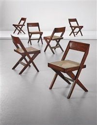 set of six 'library' chairs, model no. pj-si-51-a, designed for the high court and punjab university, chandigarh by pierre jeanneret