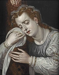 mary magdalene in sorrow at the foot of the cross by frans floris the elder