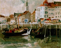 harbour at oostende by maurice paul