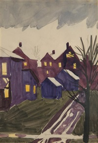 wet winter dusk, january 1916 by charles ephraim burchfield