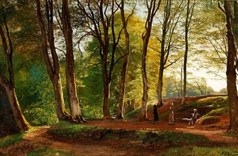 summer day in sæby skov with three young ladies strolling by carl frederik peder aagaard