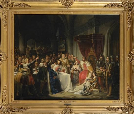 le couronnement de la reine jeanne de bourbon par charles v by nicaise de keyser