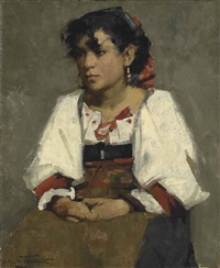 italian peasant girl by henry herbert la thangue