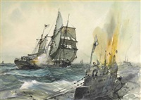h.m.s. mary b. mitchell sinking a german submarine by montague dawson