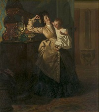 interior scene with mother and child by pieter willem sebes