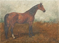 chestnut horse in landscape by john emms