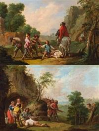 pendants - landschaft mit straßenräubern und landschaft mit überfall auf ein trinkgelage (pair) by august querfurt