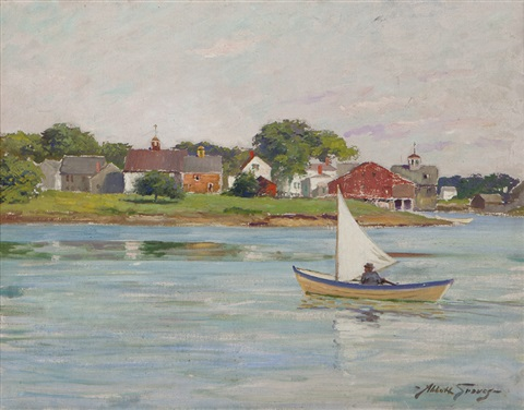 skiff near a coastal maine village by abbott fuller graves