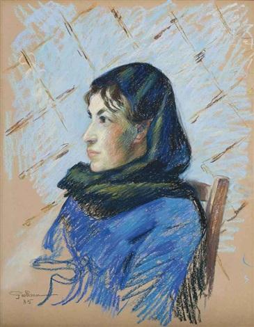 femme à la chemise bleu by armand guillaumin