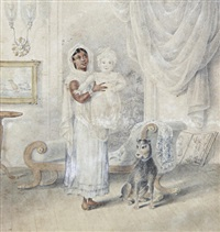 an ayah and her charge in an interior by charles (sir) d'oyly
