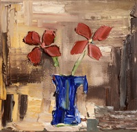still life in blue vase by colin flack