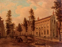 a view of unidentified canal houses by augustus wijnantz