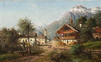 tyrol village with mountains in the background by alois toldt