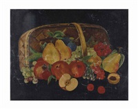 still life with apples, grapes, pears, plums, cherries and peaches in a woven basket by american school