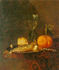 still life of a herring on a pewter plate, an orange, a glass and bread by pieter van den bos