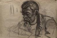 pareja de dibujos: desnudo femenino (anverso), retrato de hombre (reverso) (pair) by francisco gimeno arasa