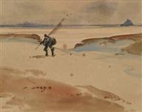 le pêcheur devant le mont st. michel by pierre brette